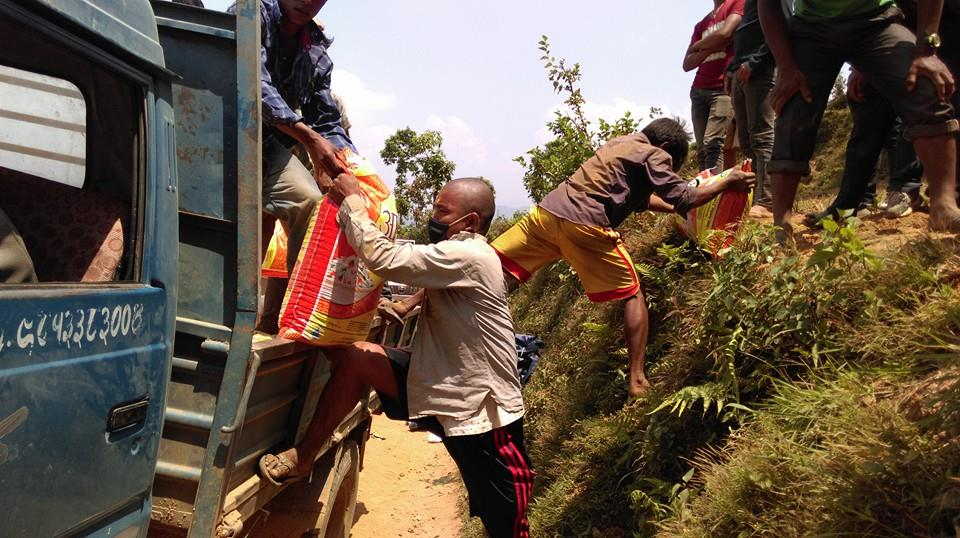 Distribution of food in the Sindhupalchok District