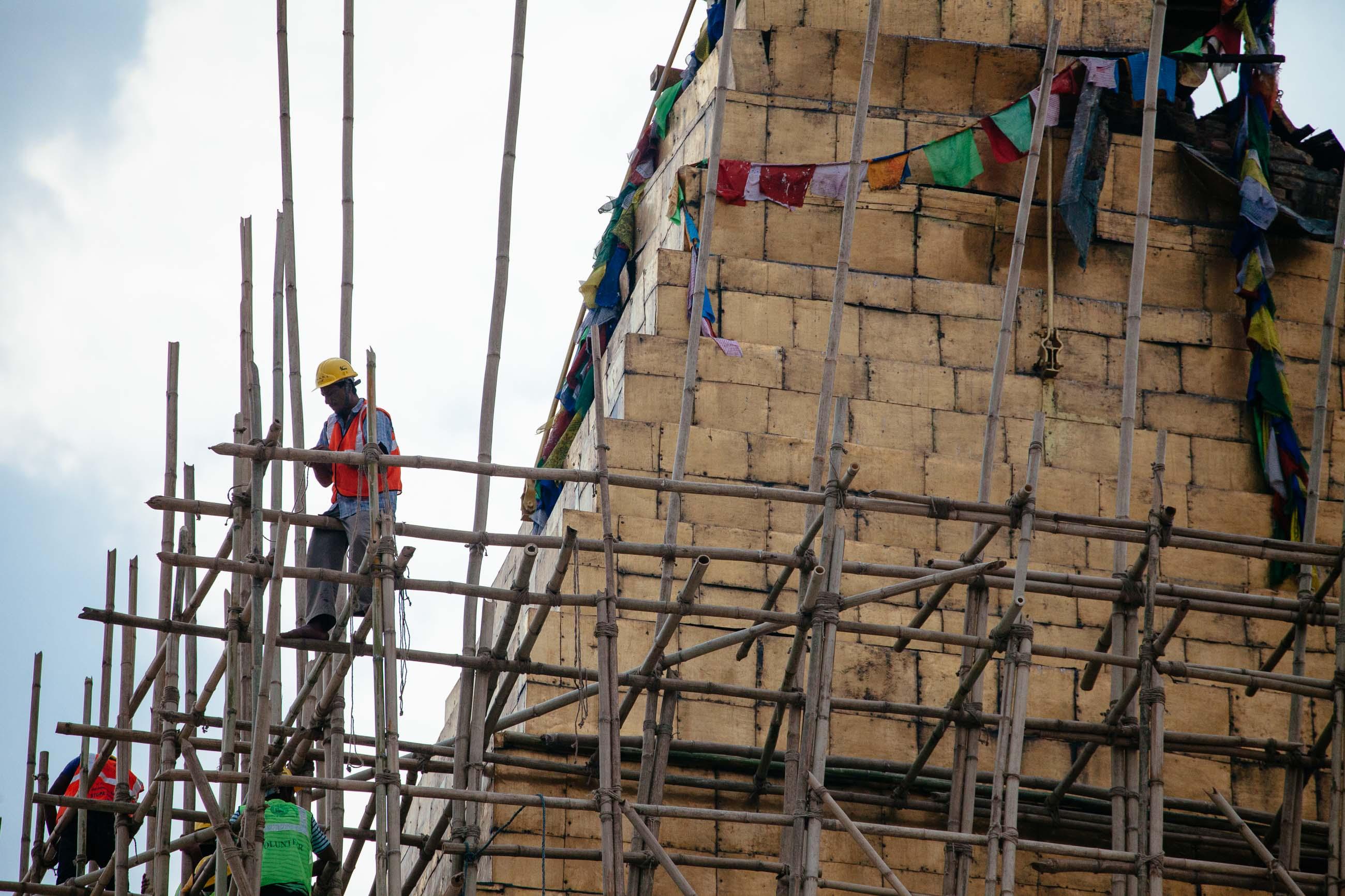 Repairing Boudanath, Kathmandu, Nepal Jun 2015