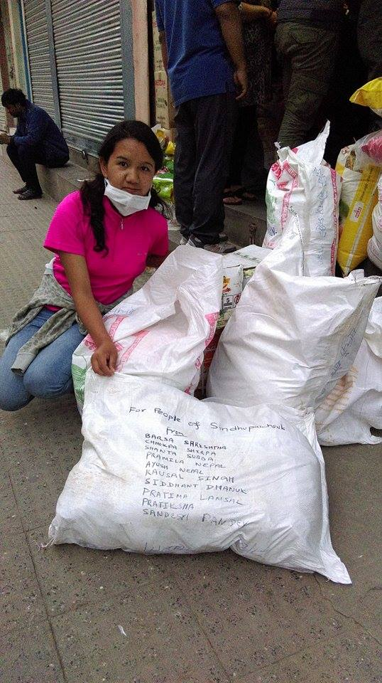 Chhokpa with the supplies for the earthquake victims of Sindhupalchowk district